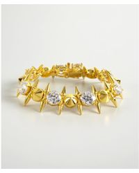 Noir Jewelry Gold And Crystal Spike Bracelet - Lyst