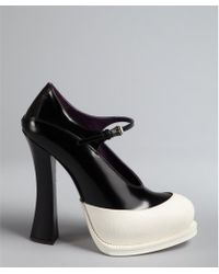 Prada Black And White Leather Colorblock Mary-Jane Pumps - Lyst
