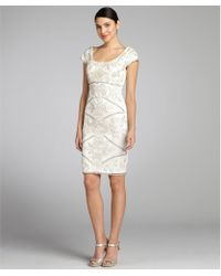 Sue Wong Ivory Sequined Scoop Neck Cap Sleeve Dress - Lyst
