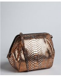 Treesje - Copper Python Leather Spitfire Studded Shoulder Bag - Lyst