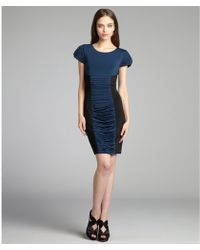 Vera Wang Lavender Peacock Jersey Ruched Panel Cap Sleeve Dress blue - Lyst
