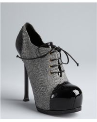 Saint Laurent Black Houndstooth Canvas and Patent Leather Tribtoo 105 Lace Up Pumps - Lyst