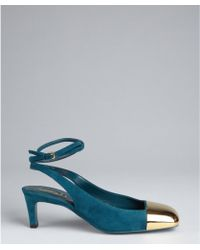Saint Laurent Teal Suede And Gold Cap Toe Ankle Strapped Pumps - Lyst
