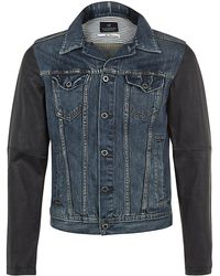 Scotch & Soda Leather Sleeve Denim Jacket - Lyst