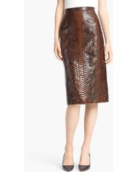 Burberry Prorsum Python Print Embossed Leather Pencil Skirt - Lyst