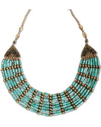 Lucky Brand - Gold Tone Metal Turquoise Necklace - Lyst