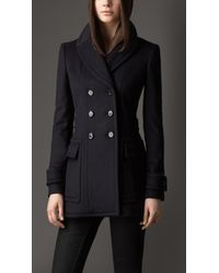 Burberry Wool Cashmere Military Pea Coat - Lyst