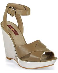 7 For All Mankind - Tiarra Wedge Sandal in Taupe Leather - Lyst