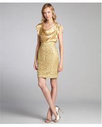 Kay Unger Gold Silk and Metallic Lace Overlay Party Dress - Lyst
