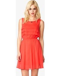Forever 21 Pleated Georgette Dress - Lyst