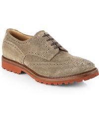 Brunello Cucinelli Suede Wingtip Derby Shoes - Lyst