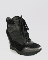 French Connection - Lace Up Wedge Trainers Melanie - Lyst