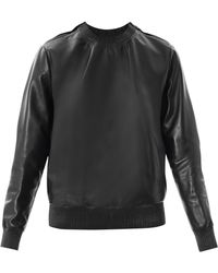 Givenchy - Zipped Shoulder Leather Sweatshirt - Lyst