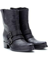 Miu Miu Texturedleather Biker Boots - Lyst