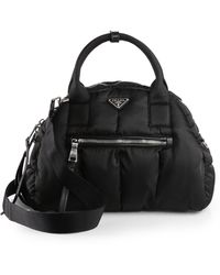 7a5cd278fd0f new zealand prada tessuto bomber bowler bag in black lyst dbbd6 fc3f8