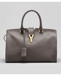 Saint Laurent - Y-Ligne Large Classic Cabas Calf Carryall Bag Grey - Lyst