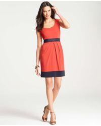 Ann Taylor Crepe Colorblocked Dress - Lyst