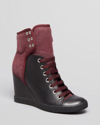 See By Chloé Lace Up High Top Wedge Sneakers Gondola - Lyst
