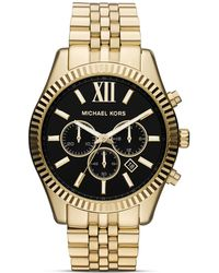 Michael Kors Men'S Gold Tone Lexington Chronograph Watch, 45Mm - Lyst