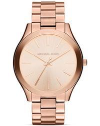Michael Kors Mid-Size Rose Gold Tone Slim Runway Three-Hand Watch, 42Mm - Lyst