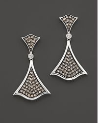 Badgley Mischka - White and Brown Diamond Pavé Earrings - Lyst