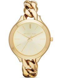 Michael Kors Mid-Size Gold-Tone Slim Runway Three-Hand Watch, 42Mm - Lyst