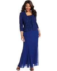 Alex Evenings Sleeveless Sequined Lace Gown - Lyst