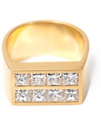 DINA KAMAL DK01 - Diamond and Gold Flat Plate Pinky Ring - Lyst