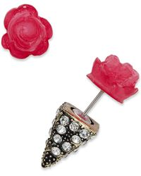 Material Girl - Goldtone Pink Rose and Spike Pyramid Tunnel Earrings - Lyst