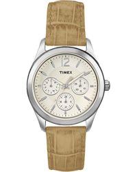 Timex® Womens Ameritus Beige Crocograin Leather Strap 35mm T2p070um - Lyst