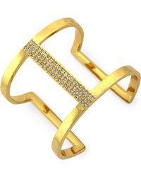 Vince Camuto - Gold-tone Glass Crystal Cut-out Cuff Bracelet - Lyst