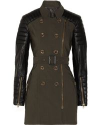 W118 by Walter Baker Keanu Faux Leather sleeved Cotton-twill Trench Coat - Lyst