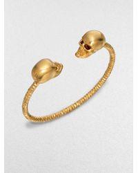 Alexander McQueen Twin Skull Cuff Bracelet - Lyst