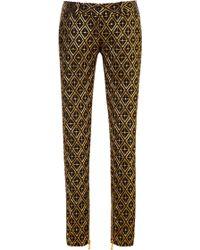 Balmain Jacquard Skinny Trousers gold - Lyst