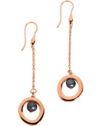 Breil - Rose Goldtone Grey Natural Pearl Circle Earrings - Lyst