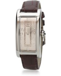 Brooks Brothers Ladies' Rectangular Watch With Brown Band gold - Lyst