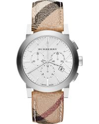 Burberry Mens Swiss Chronograph Haymarket Check Fabric Strap 42mm - Lyst