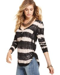 Free People Longsleeve Vneck Tiedye Striped Henley - Lyst