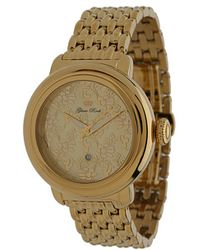 Glam Rock - 40mm Gold Plated Flower Applique Dial Watch with 7link Bracelet - Lyst