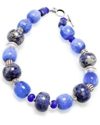 Lauren by Ralph Lauren - Silvertone Blue Bead Toggle Necklace - Lyst