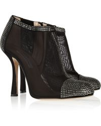 Oscar de la Renta Ottavia Crystalembellished Mesh and Satin Ankle Boots - Lyst