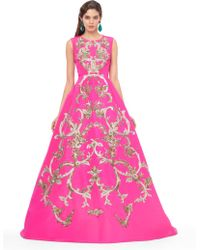 Oscar de la Renta Sleeveless Gown with Metallic Embroidery - Lyst