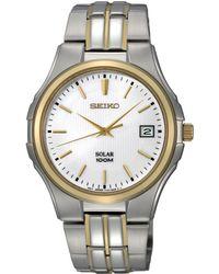 Seiko Mens Solar Two Tone Stainless Steel Bracelet 39mm Sne122 - Lyst