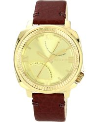 Vince Camuto - Mens Oxblood Textured Grain Leather Strap 44mm Vc - Lyst