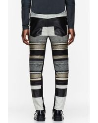 3.1 Phillip Lim - Black Embroidered and Leather Stripe Jeans - Lyst