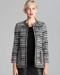 Alice + Olivia Kidman Metallic Tweed Striped Jacket black - Lyst