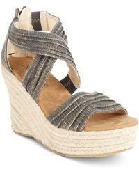 BEARPAW - Begonia Espadrille Platform Wedge Sandals - Lyst