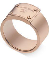 Michael Kors Rose Gold-Tone Logo Plate Ring - Lyst