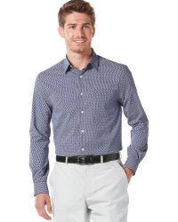 Perry Ellis Long Sleeve Button Front Dot Print Shirt - Lyst