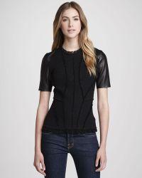 Rebecca Taylor Leathersleeve Tweed Top - Lyst